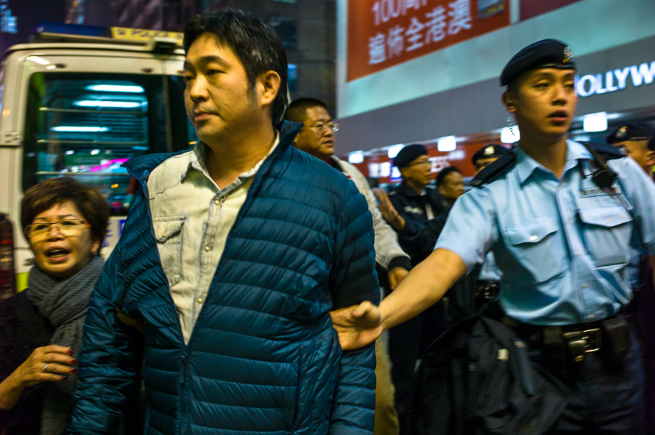 umbrella movement, Hong Kong, Leica, Jamie Chan, mongkok, police, arrest, protesters