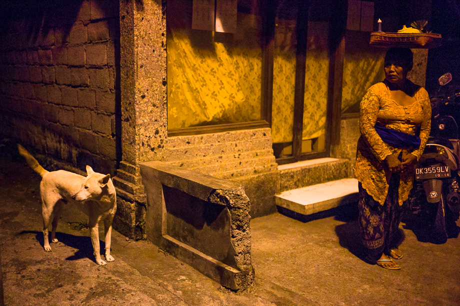 Night, Jamie Chan, Leica ME, No Foreign Lands, Bali, Indonesia, Ubud, people, ceremony, blessing, 35mm Summilux, Woman, dog